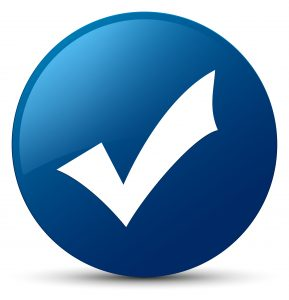 Validation icon isolated on blue round button abstract illustration