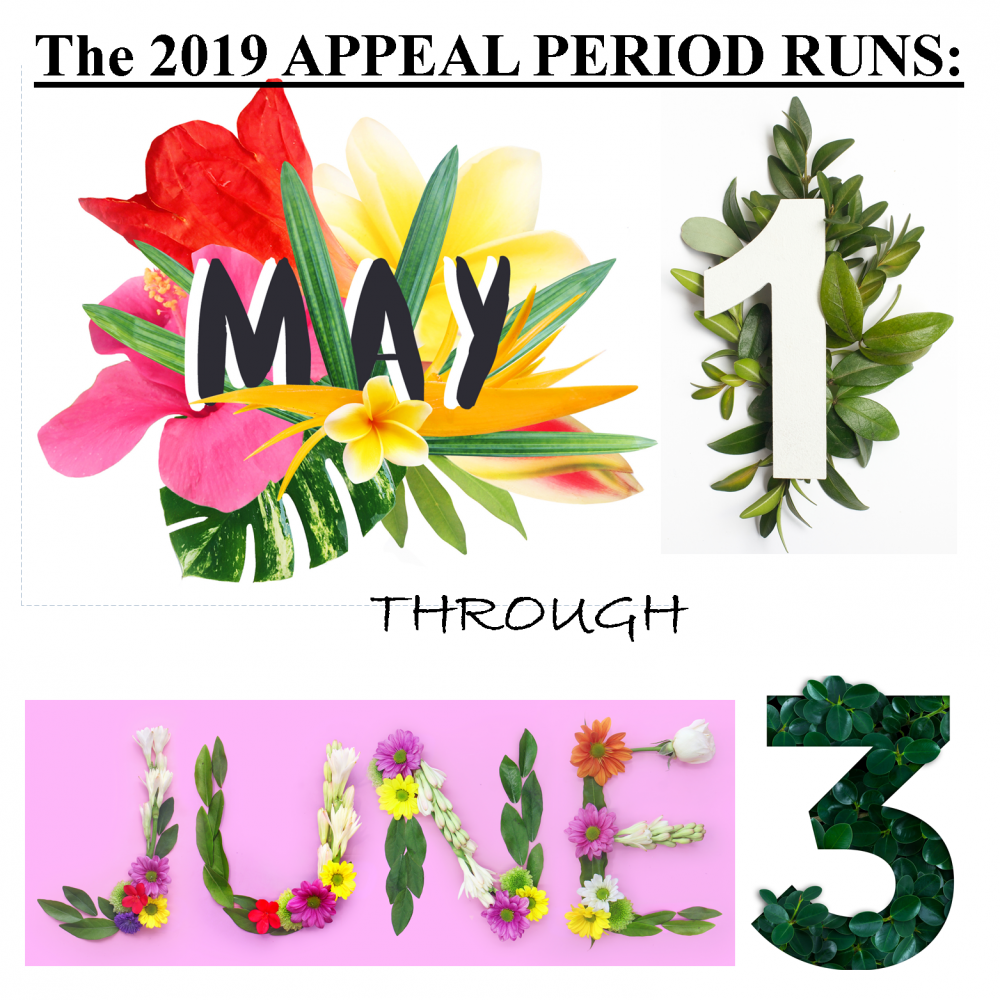 The 2019 Appeal Period Runs May 1-June 3