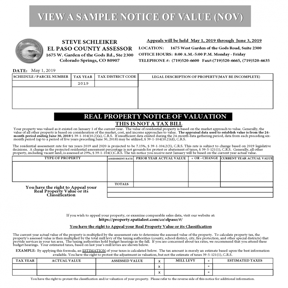 SAMPLE NOTICE OF VALUE